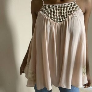 Solemio Blush Pink Flair Top With Lace Size Small